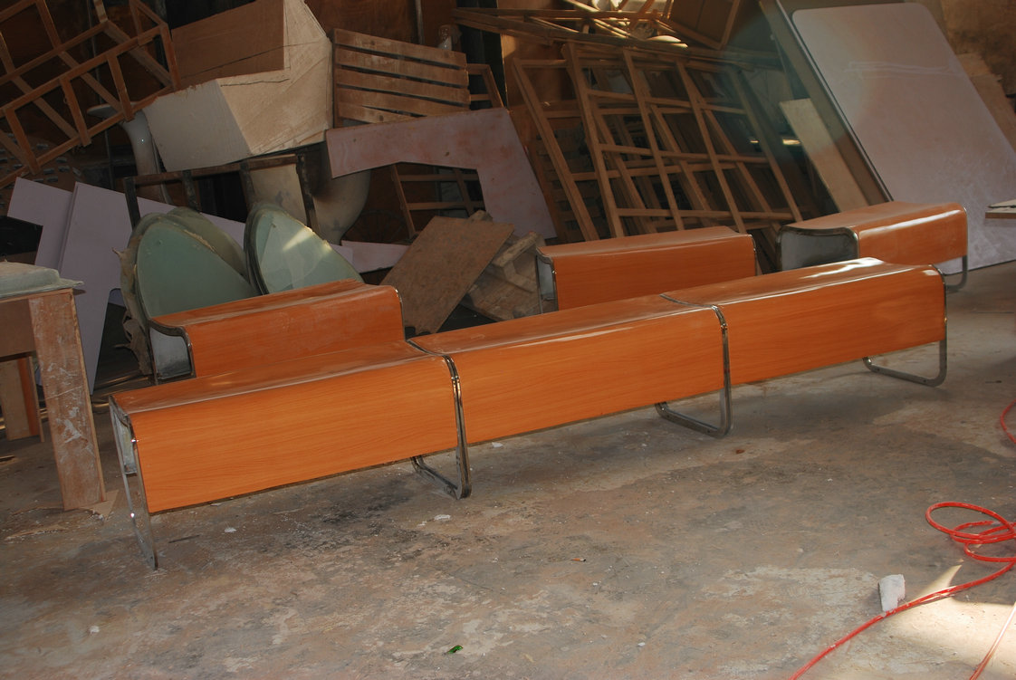 玻璃钢仿木纹休闲椅